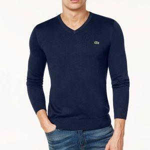 NEW Lacoste Men's V-Neck Jersey Sweater